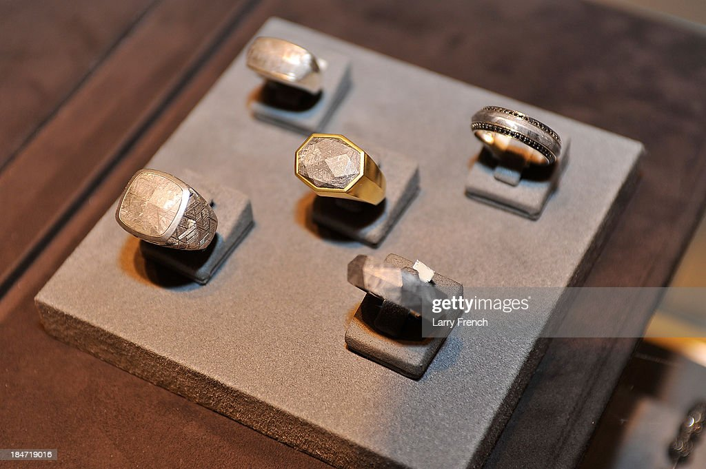 Rings are seen at the David Yurman Meteorite Launch With Chris Baker on October 15, 2013 in Mclean, Virginia.