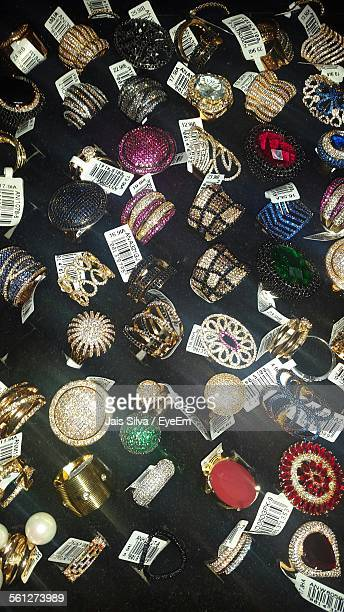Rings On Display In Jewelry Store