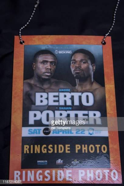 April 22: Ringside credential for the Andre Berto vs Shawn Porter's WBC welterweight title eliminator at the Barclay Center, April 22, 2017 in...