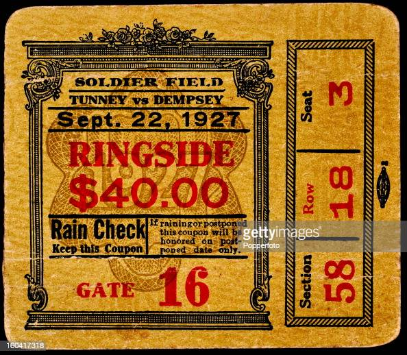 A ringside ticket stub for the Gene Tunney versus Jack Dempsey
