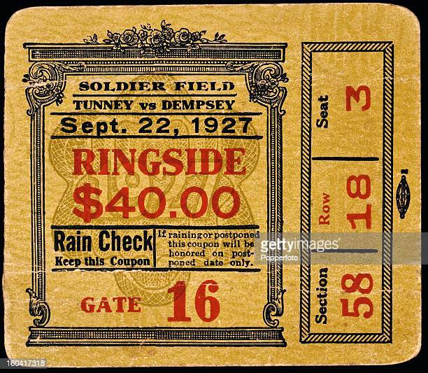A ringside ticket stub for the Gene Tunney versus Jack Dempsey heavyweight world championship fight held before 104000 fans at Soldier's Field in...
