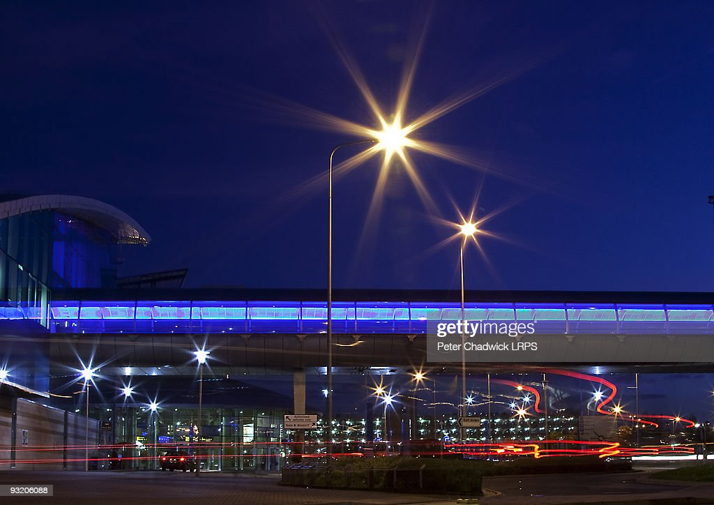 Ringway Airport Manchester at night : Stock Photo