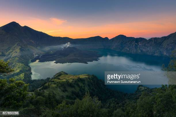 Rinjani active volcano mountain in a morning sunrise, Lombok island, Indonesia
