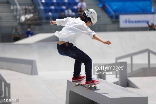 Rinka Kanamori performs her routine during the READY STEADY TOKYO Skateboarding Test Event at Ariake Urban Sports Park in course of the preparations...