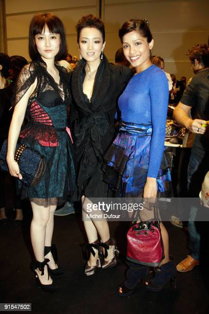 Rinko Kikuchi Gong Li and Freida Pinto attends Louis Vuitton Pret a Porter show as part of the Paris Womenswear Fashion Week Spring/Summer 2010 at...
