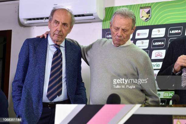 Rino Foschi and Maurizio Zamparini look on during a press conference at Stadio Renzo Barbera on December 4, 2018 in Palermo, Italy.