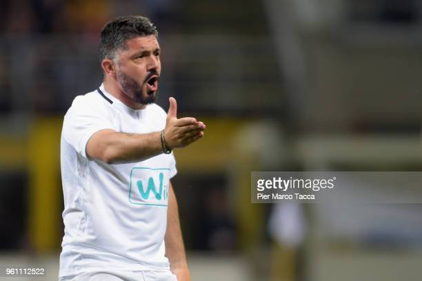 Rino Gattuso gestures during Andrea Pirlo Farewell Match at Stadio Giuseppe Meazza on May 21 2018 in Milan Italy