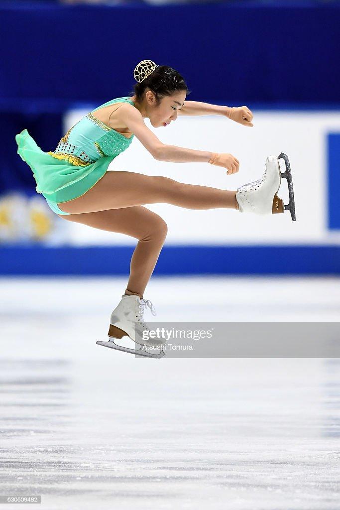 Rino Kasakake of Japan competes in the Ladies free skating during the Japan Figure Skating Championships 2016 on December 25, 2016 in Kadoma, Japan.