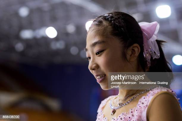 Rino Kasakake of Japan looks on in the Ladies medal ceremony during day two of the ISU Junior Grand Prix of Figure Skating at Olivia Ice Rink on...