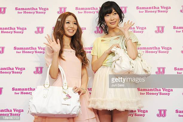 Rino Sashihara of AKB48 and Stylist Misato Ichiki pose for a photogragh at Samantha Thavasa Deluxe Omotesando Gates store on February 22 2012 in...