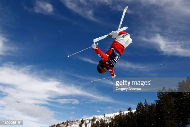 Rino Yanagimoto of Japan takes a training run for the Woman's Moguls during the 2021 Intermountain Healthcare Freestyle International Ski World Cup...