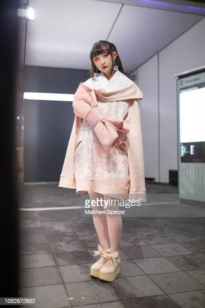 Rinrin is seen wearing Mikio Sakabe top Fenty Puma bag Tutuanna tights Tokyo Bopper shoes and Ivy Tokyo Jenny Fax earrings during the Amazon Fashion...
