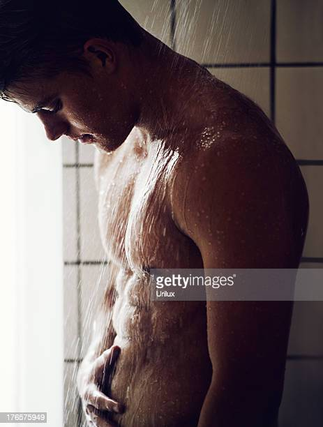 Rinsing off under the shower