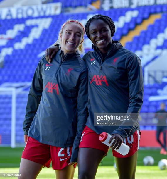 Rinsola Babajide and Missy Bo Kearns of Liverpool Women during the FA Women's Championship match between Liverpool Women and Charlton Athletic Women...