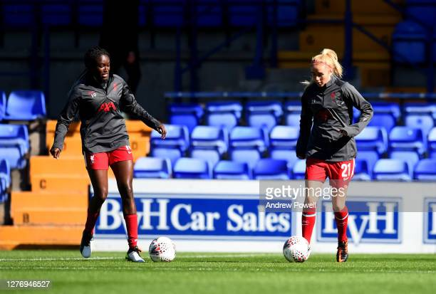 Rinsola Babajide and Missy Bo Kearns of Liverpool Women Women during the FA Women's Championship match between Liverpool Women and Charlton Athletic...