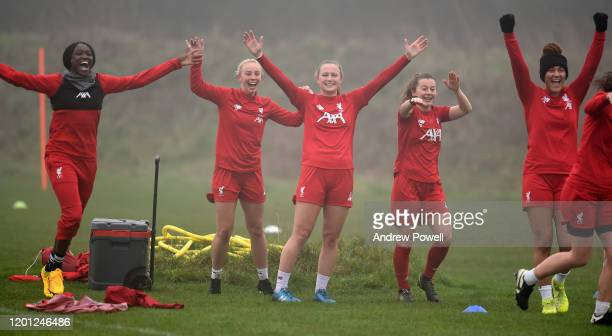 Rinsola Babajide Ashley Hodson Jemma Purfield Christie Murray and Jade Bailey of Liverpool Women during a training session at Solar Campus on January...