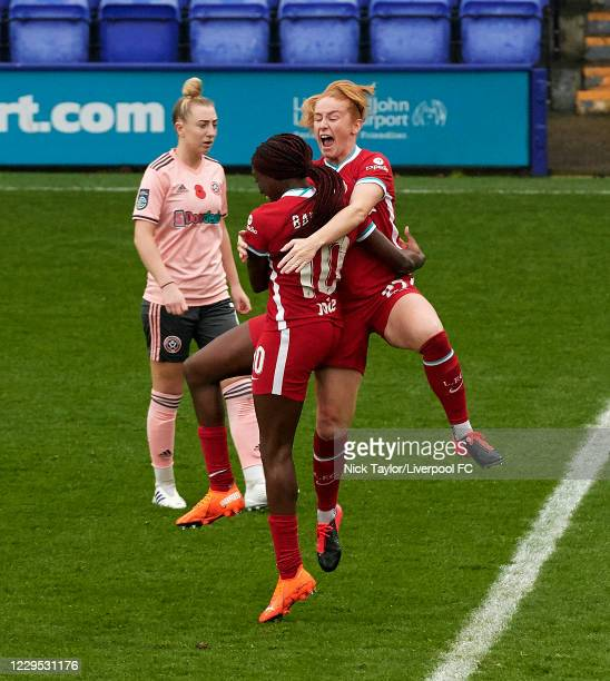 Rinsola Babajide of Liverpool celebrates her goal with team mate Rachel Furness at Prenton Park on November 8 2020 in Birkenhead England