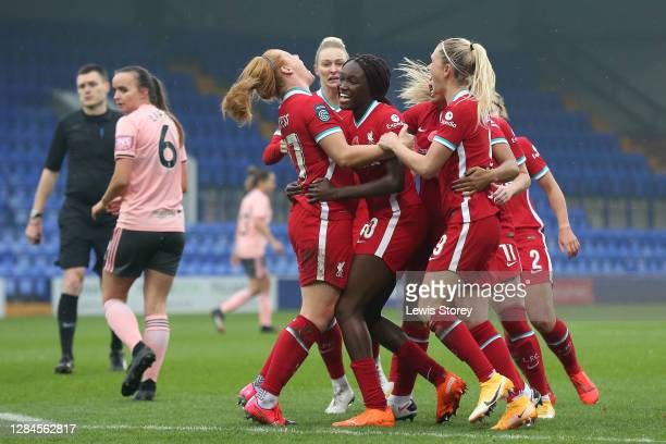 Rinsola Babajide of Liverpool celebrates scoring her sides first goal during the Barclays FA Women's Championship match between Liverpool and...