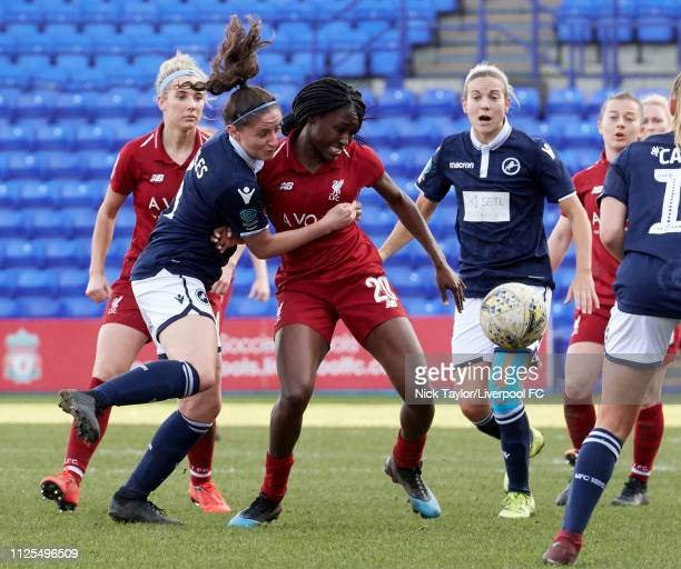 Rinsola Babajide of Liverpool Women and Freya Bailes of Millwall Lionesses in action during the SSE Womens FA Cup game at Prenton Park on February 17...