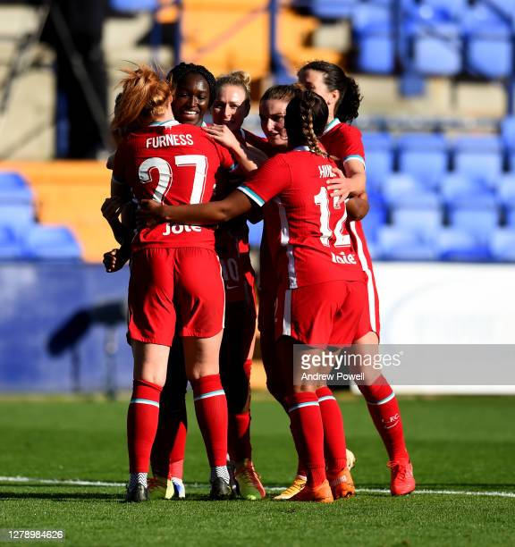 Rinsola Babajide of Liverpool Women celebrates after scoring the second goal from the spot for Liverpool making the score 2-1 during the FA Women's...