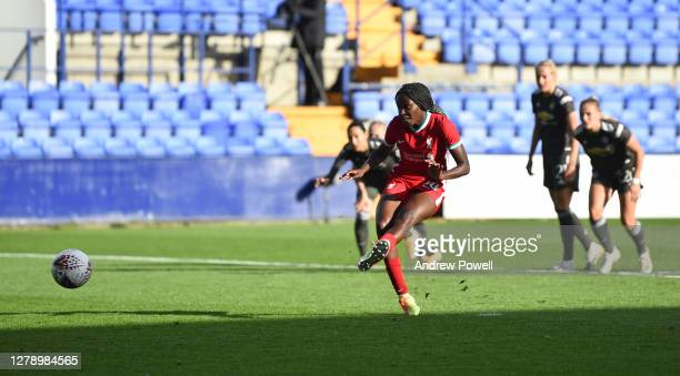 Rinsola Babajide of Liverpool Women scoring the second goal from the spot for Liverpool making the score 21 during the FA Women's Continental League...