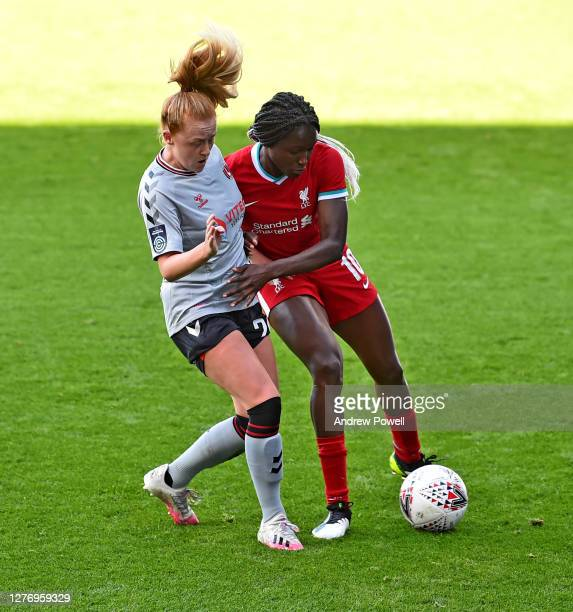 Rinsola Babajide of Liverpool Women with Beth Lumsden of Charlton Athletic Women during the FA Women's Championship match between Liverpool Women and...