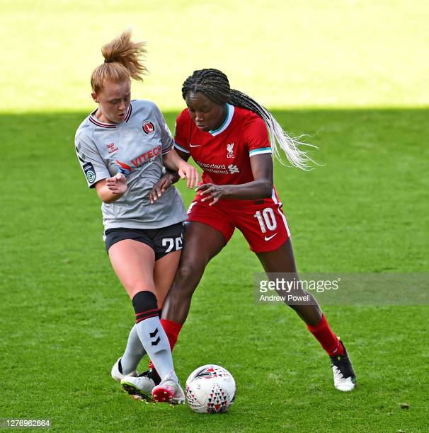 Rinsola Babajide of Liverpool Women with Beth Lumsden of Charlton Athletic during match between Liverpool Women and eth Lumsden of Charlton Athletic...
