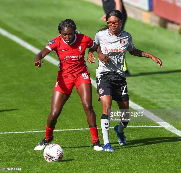 Rinsola Babajide of Liverpool Women with Shauna Vassell of Charlton Athletic Womenduring the FA Women's Championship match between Liverpool Women...