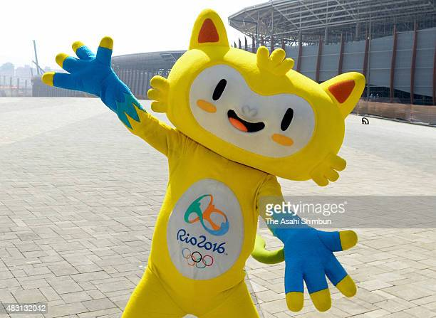 Rio 2016 mascot Vinicius entertains the media during a press conference marking 1 year to go until the Rio 2016 Olympic Games at the Olympic Park in...