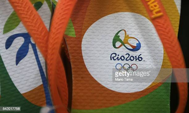 Rio 2016 Olympic Games flipflops are displayed for sale on June 21 2016 in Rio de Janeiro Brazil The games being August 5 amidst an economic and...