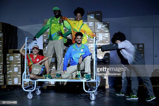 Rio 2016 Olympic work force uniforms are presented to the media during a musical routine at Cidade do Samba on May 12 2016 in Rio de Janeiro Rio de...