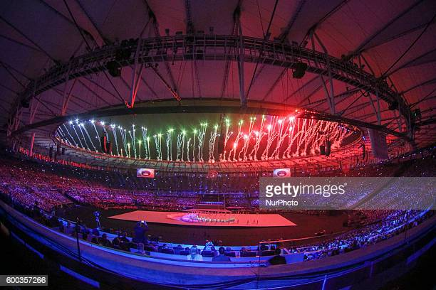 Rio 2016 Paralympic Games, fireworks during the opening ceremony held in Stadio Maracana of Rio de Janeiro the 7th of september 2016.