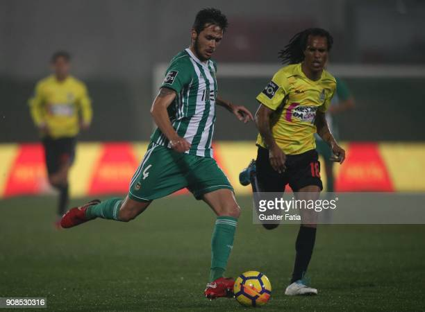 Rio Ave FC defender Nelson Monte from Portugal with Boavista FC forward Kuca from Cape Verde in action during the Primeira Liga match between Rio Ave...