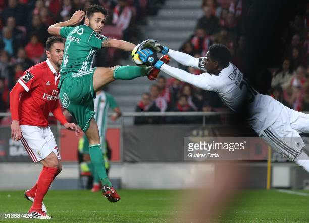 Rio Ave FC defender Nelson Monte from Portugal with SL Benfica goalkeeper Bruno Varela from Portugal in action during the Primeira Liga match between...