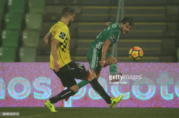 Rio Ave FC defender Yuri Ribeiro from Portugal with Boavista FC defender Nuno Henrique from Portugal in action during the Primeira Liga match between...