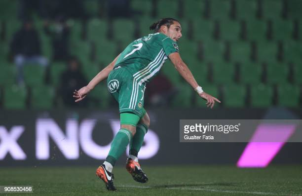 Rio Ave FC forward Helder Guedes from Portugal celebrates after scoring a goal during the Primeira Liga match between Rio Ave FC and Boavista FC at...