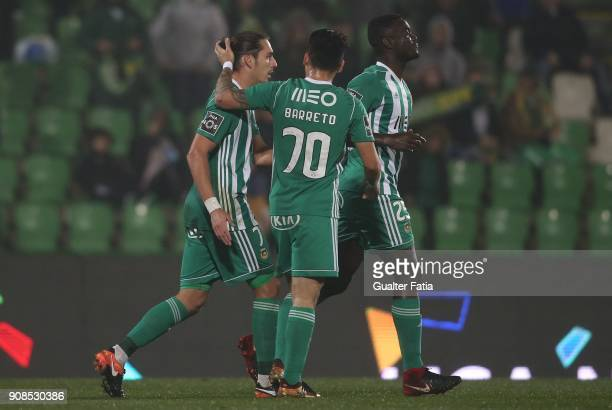 Rio Ave FC forward Helder Guedes from Portugal celebrates with teammates after scoring a goal during the Primeira Liga match between Rio Ave FC and...