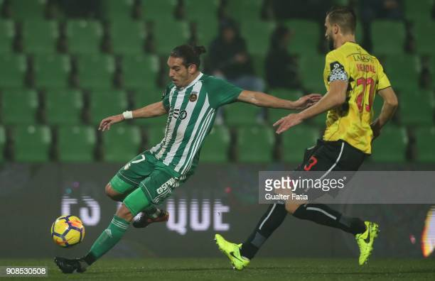 Rio Ave FC forward Helder Guedes from Portugal with Boavista FC defender Nuno Henrique from Portugal in action during the Primeira Liga match between...