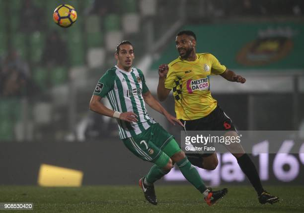 Rio Ave FC forward Helder Guedes from Portugal with Boavista FC defender Robson from Brazil in action during the Primeira Liga match between Rio Ave...