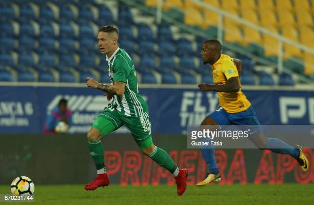 Rio Ave FC forward Nuno Santos from Portugal with GD Estoril Praia forward Victor Andrade from Brazil in action during the Primeira Liga match...