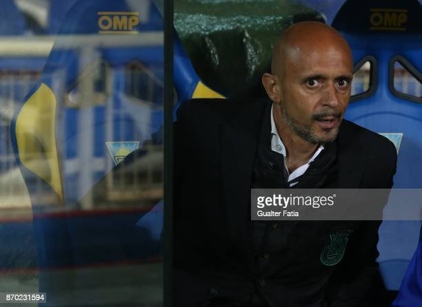 Rio Ave FC head coach Miguel Cardoso from Portugal before the start of the Primeira Liga match between GD Estoril Praia and Rio Ave FC at Estadio...