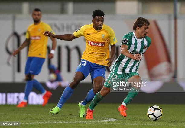 Rio Ave FC midfielder Francisco Geraldes from Portugal with GD Estoril Praia midfielder Wesley from Brazil in action during the Primeira Liga match...