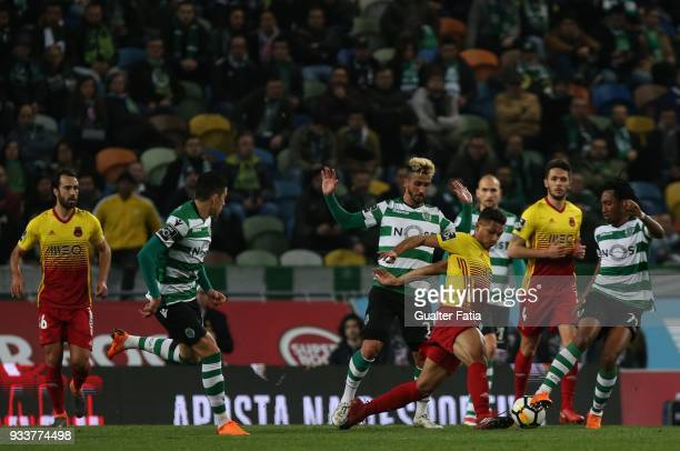 Rio Ave FC midfielder Leandrinho from Brazil in action during the Primeira Liga match between Sporting CP and Rio Ave FC at Estadio Jose Alvalade on...