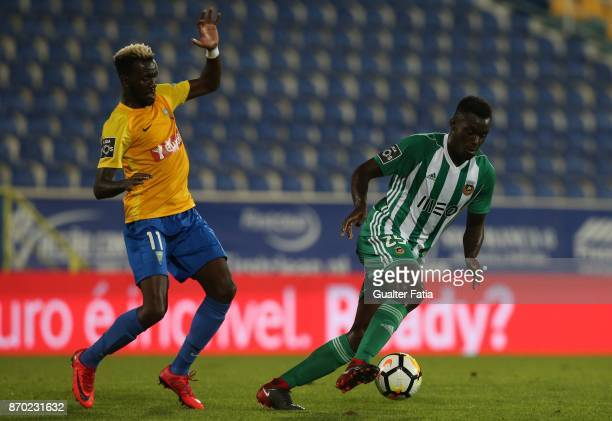 Rio Ave FC midfielder Pele from Guinea Bissau with GD Estoril Praia forward Allano Lima from Brazil in action during the Primeira Liga match between...