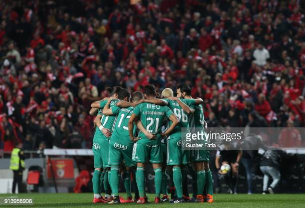 Rio Ave FC players before the start of the Primeira Liga match between SL Benfica and Rio Ave FC at Estadio da Luz on February 3 2018 in Lisbon...