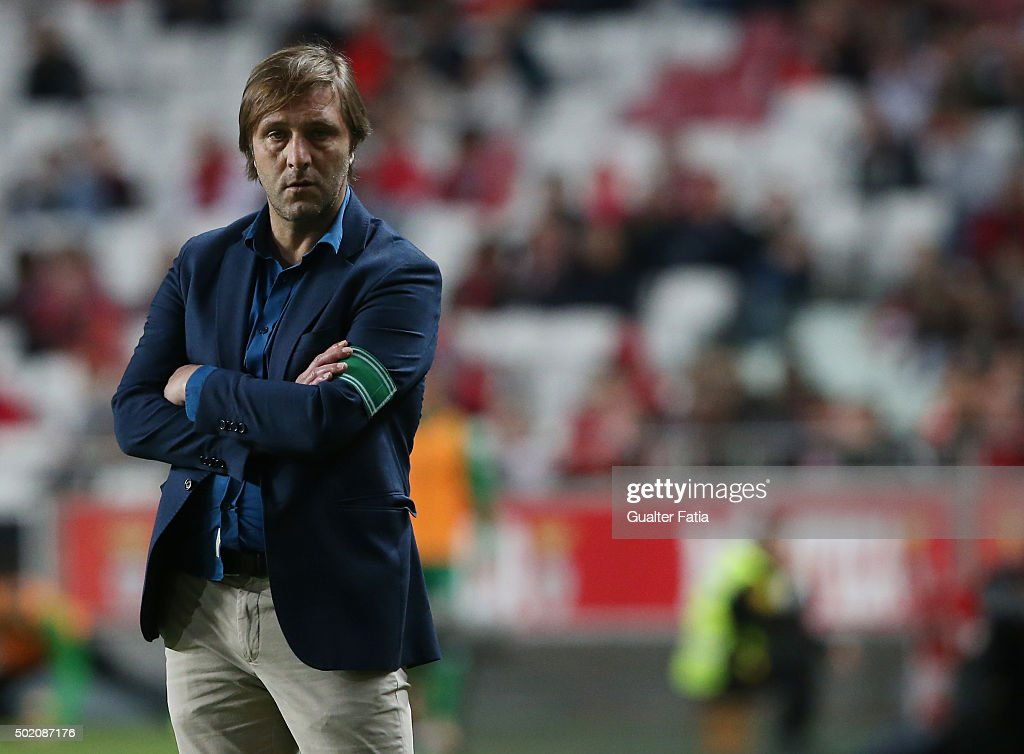 Rio Ave FC's coach Pedro Martins in action during the Primeira Liga match between SL Benfica and Rio Ave FC at Estadio da Luz on December 20, 2015 in Lisbon, Portugal.