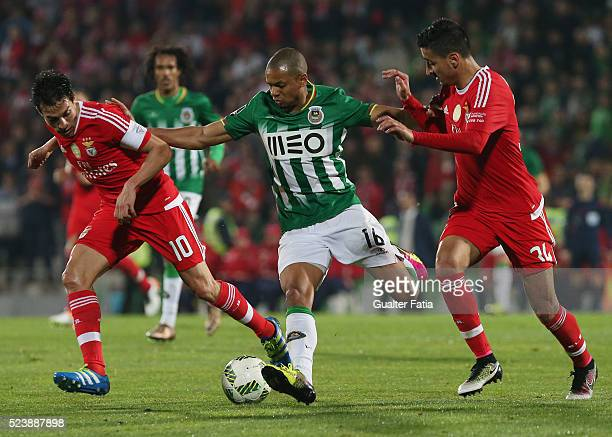 Rio Ave FC's defender Edimar with SL Benfica's defender Andre Almeida and SL Benfica's midfielder from Argentina Nico Gaitan in action during the...