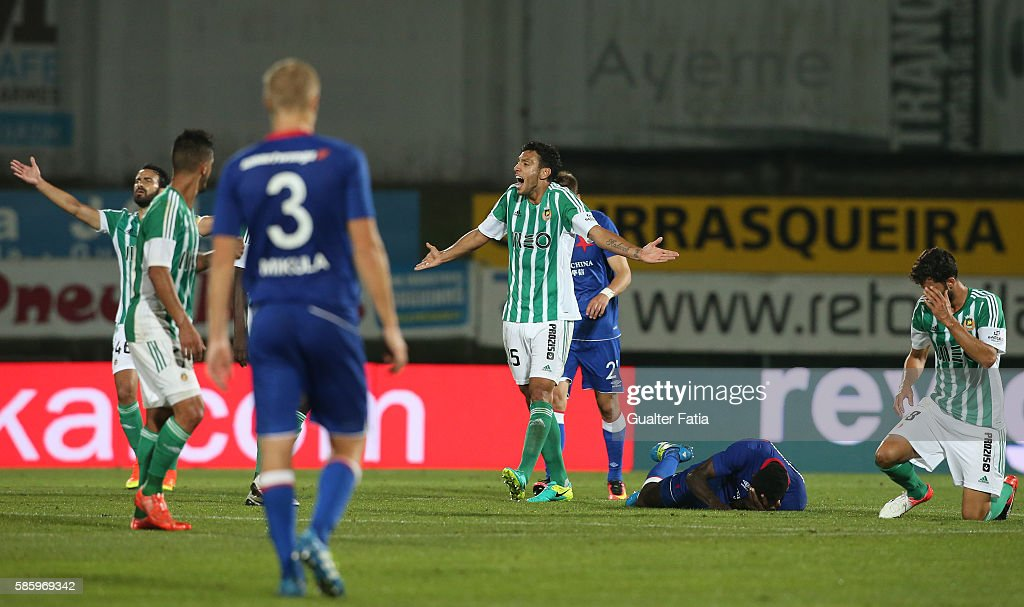 Rio Ave FCÕs defender Roderick Miranda (C) reaction after referee's decision during the UEFA Europa League Qualifications Semi-Finals 2nd Leg match between Rio Ave FC and Slavia Praha at Estadio dos Arcos on August 4, 2016 in Povoa de Varzim, Portugal.