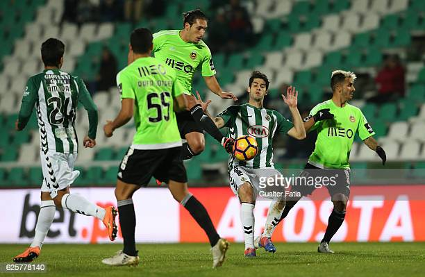 Rio Ave FC's forward Guedes with Vitoria de Setubal's defender Frederico Venancio in action during Primeira Liga match between Vitoria Setubal and...