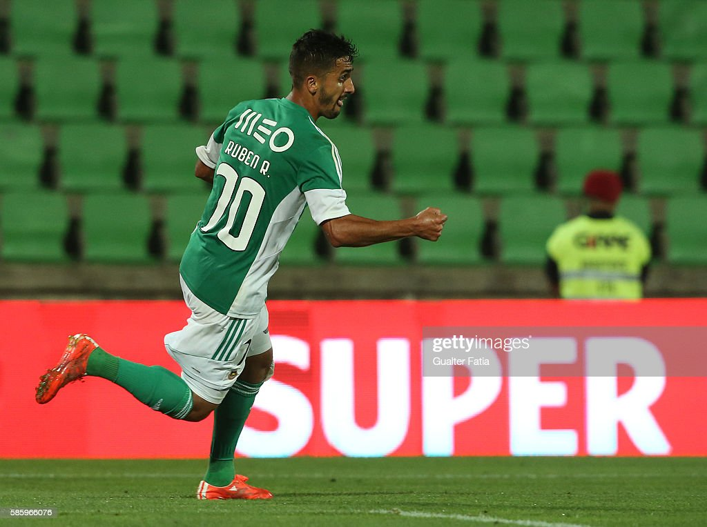 Rio Ave FC's midfielder Ruben Ribeiro celebrates after scoring a goal during the UEFA Europa League Qualifications Semi-Finals 2nd Leg match between Rio Ave FC and Slavia Praha at Estadio dos Arcos on August 4, 2016 in Povoa de Varzim, Portugal.